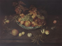 a still life with grapes, peaches, apricots and apples in a wan-li porcelain bowl, together with a pear, a prune, peaches, apricots, carnations a butterfly and a blue tit by ambrosius bosschaert the younger
