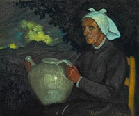 woman with a jug in a landscape by valentín de zubiaurre