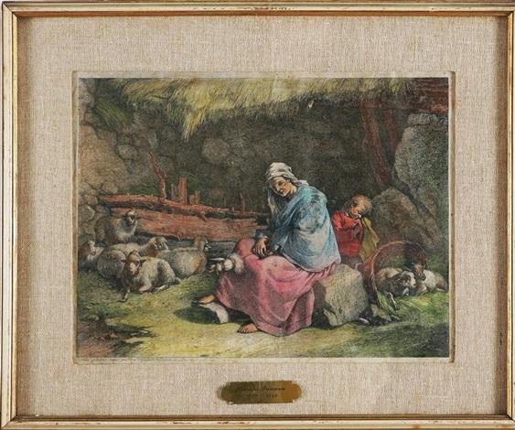 interno di stalla con filatrice seduta e bambino addormentato by francesco londonio
