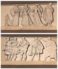 florent carton dancourt et jean-baptiste poquelin dit molière (2 works) by pierre jean david d' angers