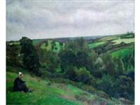 bretonne assise dans un paysage by france leplat
