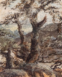 tree study, with mountains beyond by david cox the elder
