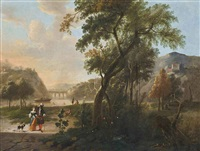 an mountainous wooded river landscape with elegant company conversing on a track, bathers beyond by hendrik carre