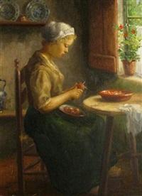 woman at work (+ man at work; pair) by hans eybergen
