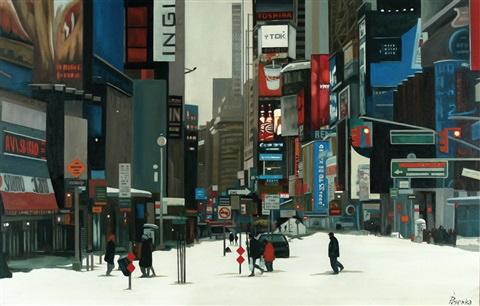 new york in the snow by ina pesenka