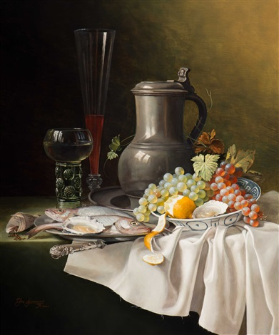 still life with jug glassware fruit and fish by jos aanraad