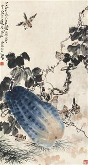 雀戏图 立轴 设色纸本 by tang yun