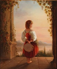 back turned girl with a tambourine looking at the sunset by edvard lehmann