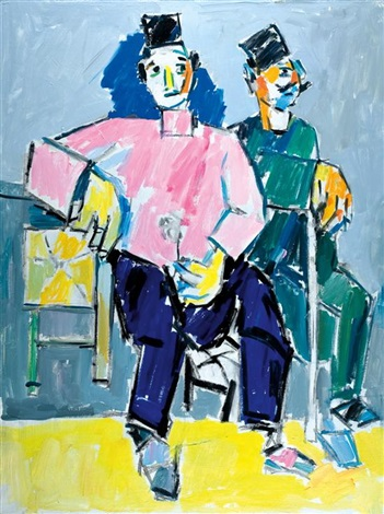 two seated men by pinchas litvinovsky