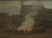 rondom het sint-jansvuur (autour de feu saint-jean) by edgard farasyn