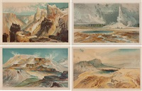 four views of yellowstone - set of 4 by thomas moran