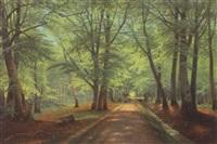 skovparti med figur, forår by siegfried hass