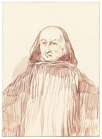 a monk wearing a hood by jean antoine watteau