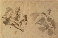 due divinità assise sulle nuvole (study) by giovanni raggi