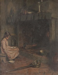 jeune fille devant la cheminée by marius barthalot