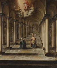 a church interior with the vision of a monk kneeling before a bishop by léopold rauch