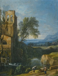a river landscape with a watermill to the left and figures with a donkey in the foreground by pierre antoine patel