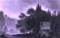 paysage de tivoli avec un tombeau by jean-baptiste antoine tierce