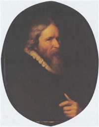 a portrait of a bearded man wearing a black coat with a white collar by abraham de vries