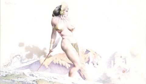 standing warrior woman and tiger in ancient landscape by frank frazetta