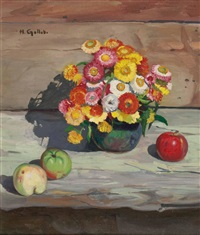 stillleben mit spätsommerblumen und äpfeln by heinrich gollob