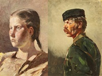 portrait of a young woman; portrait of a man (pair) by rudolf feodorovich frentz