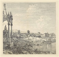 view of a town with a bishop's tomb by canaletto