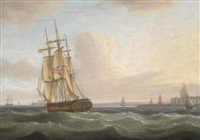 a royal navy frigate running down the channel off ramsgate; and the postal packet off dover, a pair (2) by thomas whitcombe