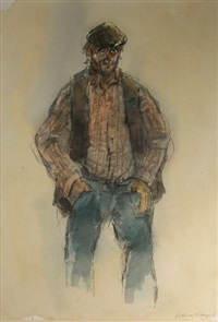 farmer bidding at auction mart (study) by william selwyn