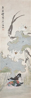 荷池鴛鴦 ren xun qing dynasty mandarin ducks in lotus pond by ren xun