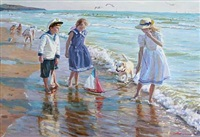 beach scene from the black sea with children by aleksandr averin