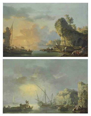 a harbor at dawn with fishermen embarking from the shore a harbor at dusk with fishermen tying up nets and coming ashore 2 works by carlo bonavia