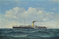 the paddlesteamer duchess of rothesay outward-bound (illustrated); the paddlesteamer marchioness of lorne offshore; and the paddlesteamer eagle iii in open waters (3 works) by denzil smith