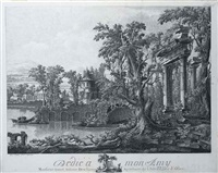 a capriccio with a ruined temple in a riverside wooded landscape by pierre de wolsay