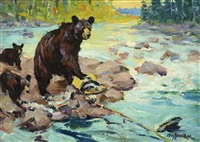 black bear sow with cubs; my ram (2 works) by frank b. hoffman