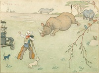 rhino charging at cowboy cameraman (bk illus. for lions n elephants n everything) by elmer boyd smith