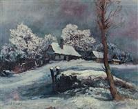 winterliche dorflandschaft by josef pilters