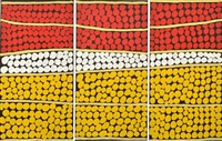 tingari cycle at njami (triptych) by tjapaltjarri george (dr. george) takata ward