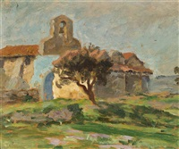 bell tower in the south of france by rupert bunny