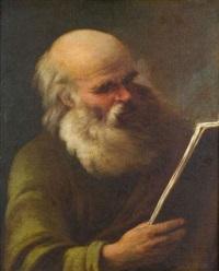 portrait d'homme barbu lisant by charles françois hutin
