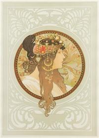 tete byzantine- brunette by alphonse mucha