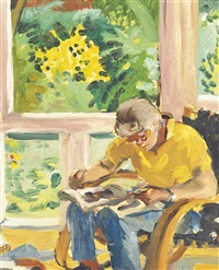 kitaj in his studio by sandra fisher