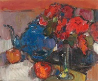 red roses, blue teapot by gordon bryce