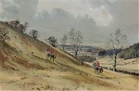 the cotswold above stanway looking west across the vale of evesham (+ 2 others, smaller; 3 works) by graham smith