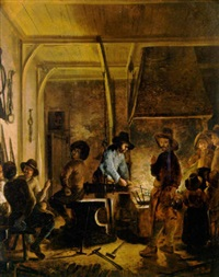 a blacksmith at work by gerrit lundens