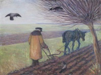 ploughing, poland by robert polhill bevan