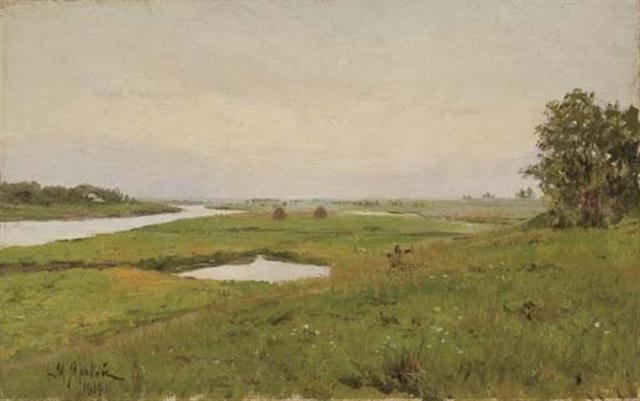 meules de foin dans un champs by mikhail mikailovich iarovoi