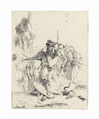 six people watching a snake, from: scherzi di fantasia by giovanni battista tiepolo