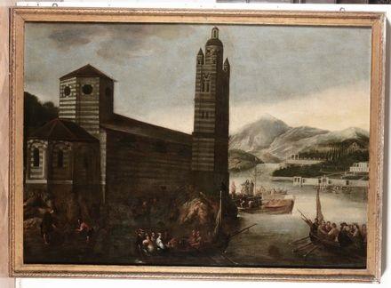 veduta marina con architetture by cornelis de wael