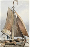 study of a beached pinck by edward william cooke